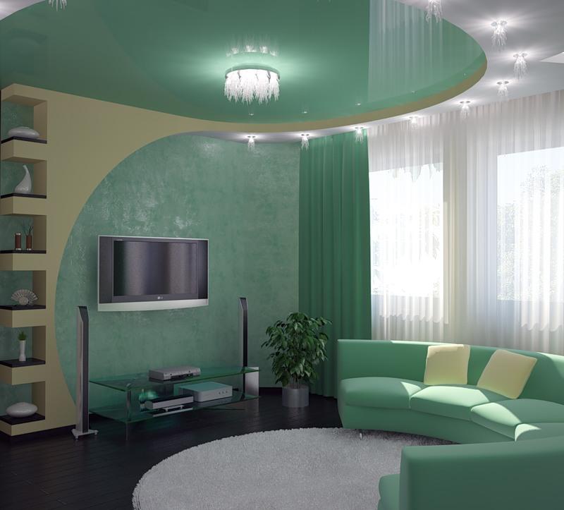 Современный дизайн зала в частном доме