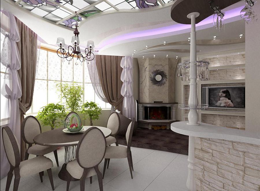 Дизайн гостиной столовой кухни фото
