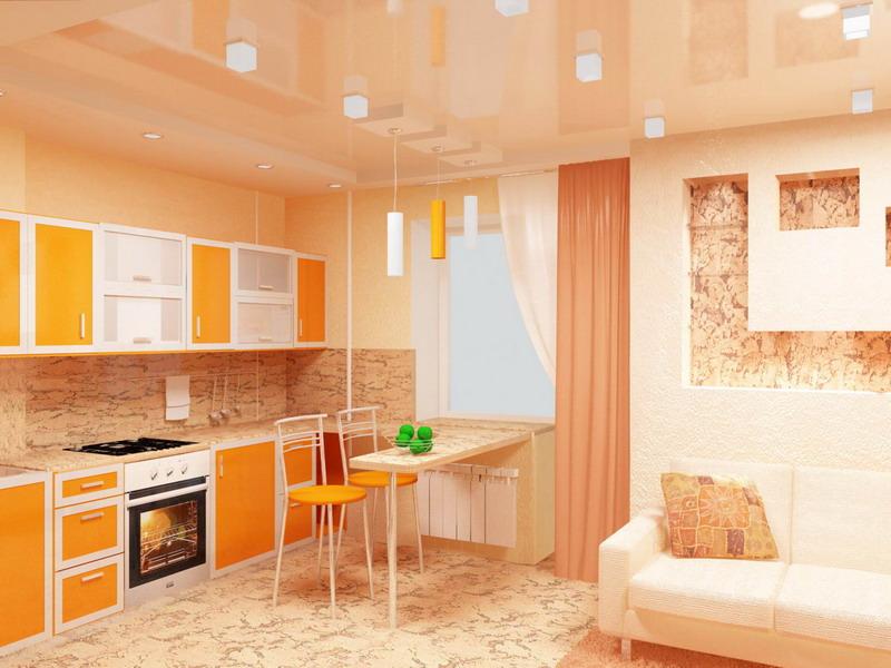 Кухня и гостиная в одной комнате