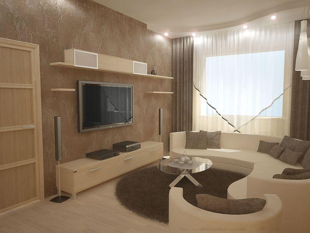 Дизайн зала с угловыми окнами